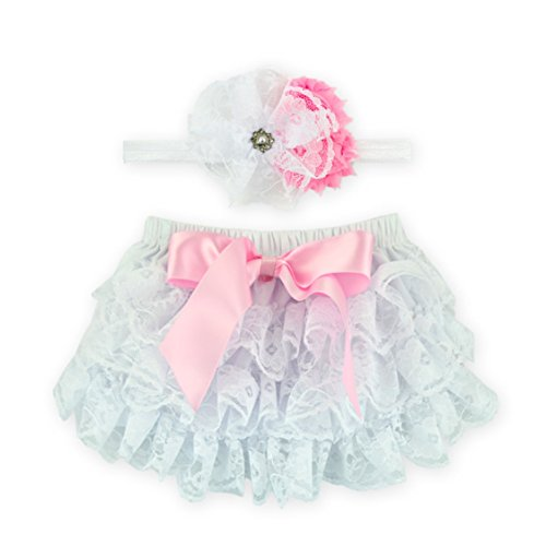 Halloween Diaper (Rush Dance Lace Ribbon Baby Ruffle Bloomers Diaper Covers & Headband (Small (0-6M), White & Pink Ribbon))