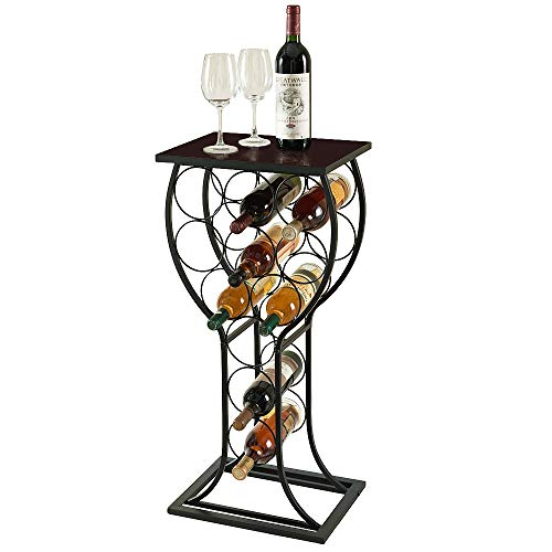 MORITIA Freestanding Wine Storage Organizer Display Rack, Wine Rack Console Table, Vertical Design for Small Spaces, Holds 11 Bottles, 15W x 12D x 33H inch