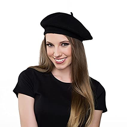 Kangaroo Wool Black Beret Hat - French Beret 15cb0fda527
