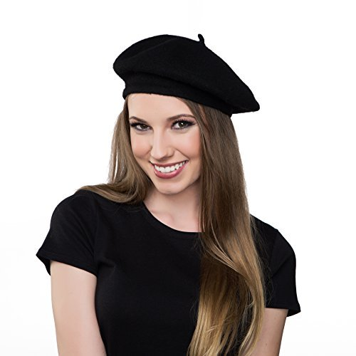 Kangaroo Wool Black Beret Hat - French