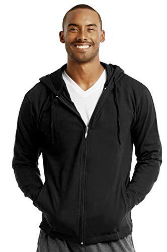 ET TU Men's Cotton Lightweight Zip Up Hoodie Jacket (L, Black)