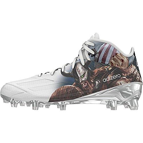 adidas Adizero 5Star 5.0 Mid Uncaged Mens Football Cleat 11.5 Viking-White-Platinum