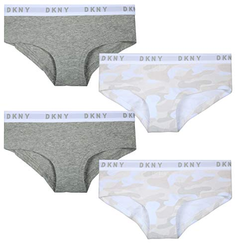DKNY Girl\'s Cotton/Spandex Hipster Underwear (4 Pack) (Heather Grey/White Camo, Medium / 8-10)' ()