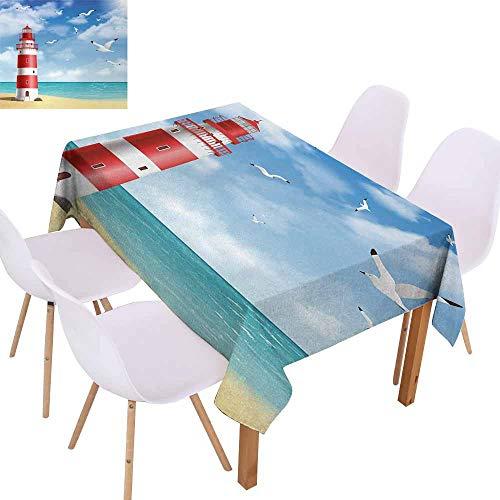 (UHOO2018 Beach,Easy Care Tablecloth,Realistic Illustration Lighthouse on Calm Seashore Flying Seagulls Ocean Scenery,for Wedding/Banquet/Restaurant,Vermilion Blue,73
