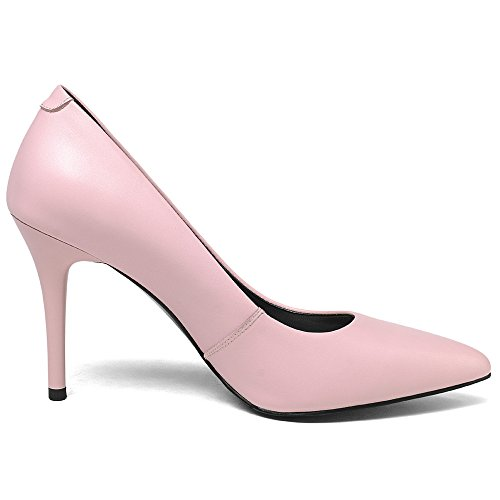Classic Handmade Flowers Basic Pumps Shoes Toe Women's Stiletto Seven Leather Nine Genuine Pink Heel Pointed PRwn4v