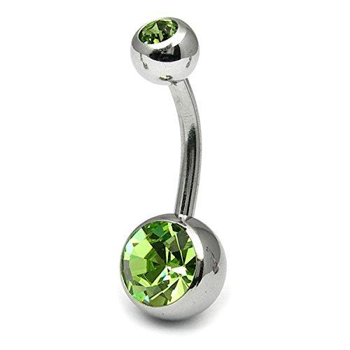 Barre en titane nombril Double strass Metal Couleur Miroir Vert clair Jewel. 12 mm Longueur standard aux dimensions de la boule: 5 mm et 8 mm de haut en bas.