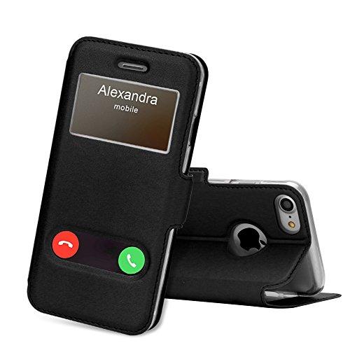 iPhone8 ケース iPhone7ケース,FYY [窓付き]ケース 軽量 超薄型 横開き 手帳型 耐衝撃 スタンド機能 マグネット式 PUレザー スマホケース iPhone 8/7 兼用 ブラック