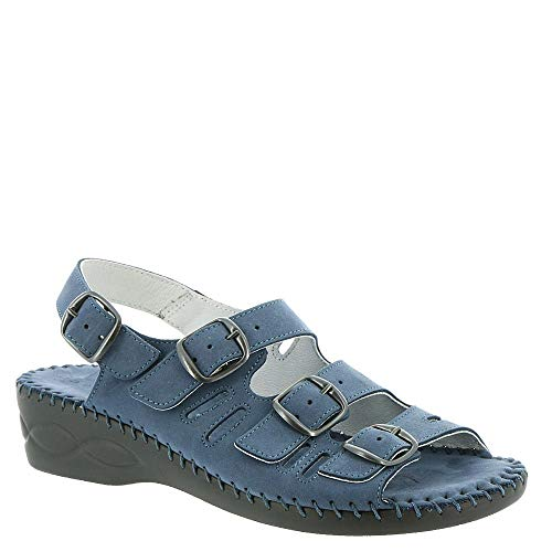 David Tate Womens Audrey Leather Open Toe Casual Slingback, Navy, Size 13.0