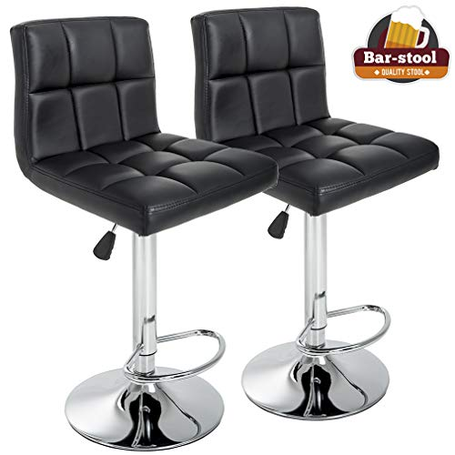 BestOffice Barstools Height Adjustable PU Leather Swivel Back Kitchen Counter Stools Bar Dining Chairs Set of 2, Black ()