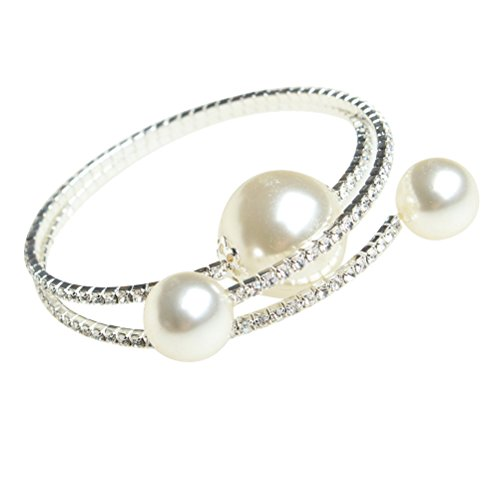 Pearl Bracelet Costumes Jewelry (Coogain Bangle Bracelet Big Faux Pearl Bling Open Cuff Beaded Bracelets White)