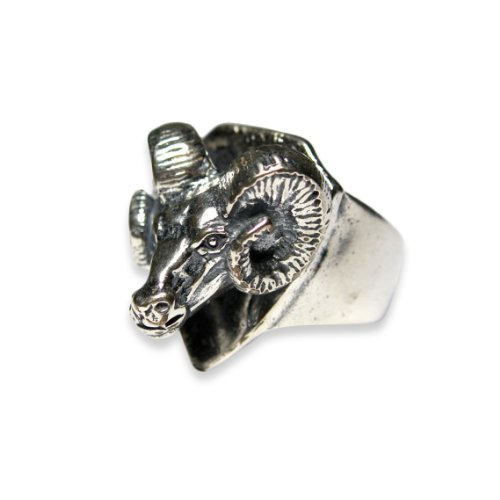 Trophy Ram Head Ring (Silver Plated White Bronze, 9)