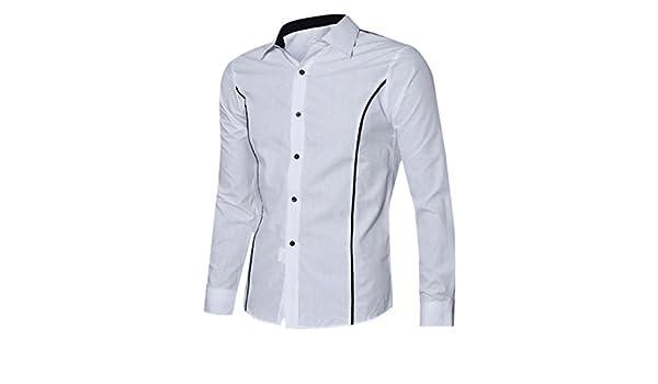 Blusa Hombre Yesmile Camiseta Camisas de Vestir Elegantes Delgadas del Ajustado de la Manga Larga de Lujo Hombre: Amazon.es: Ropa y accesorios