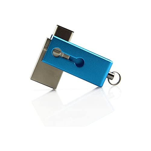 CHUYI Mini Type C 32GB Thumb Drive Waterproof High Speed USB 3.0 Dual Flash Drive USB C Metal Memory Stick with Keychain for Cellphone and Computers(Light Blue)