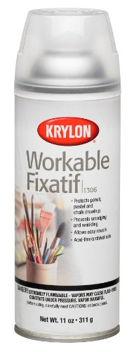 Krylon K01306 Workable Fixatif Spray Clear, 11-Ounce - Spray Inkjet Protective