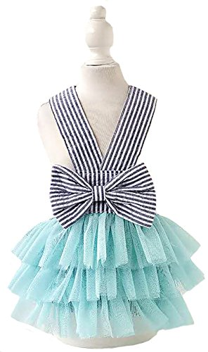 MaruPet Summer Sweet Puppy Doggie Striped Printed Princess Skirt Pet Dog Lace Cake Camisole Tutu Dress with Bowknit DarkBlue S by MaruPet
