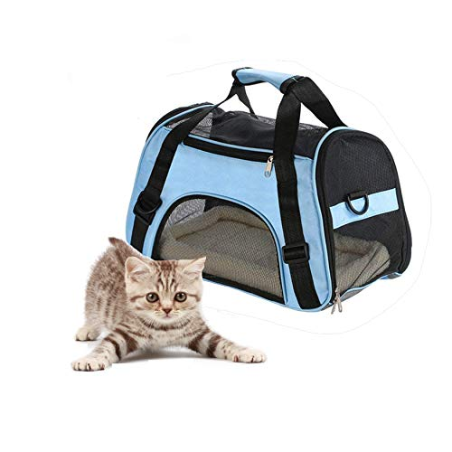 Pet Carrier for Small Dogs, Cats, Puppies, Kittens, Pets. Locking Safety Zippers& Soft Sided Kennel. Perfect for Airplane, Train, and Car Travel, Carry Your Pet with You Safely and Comfortably, Blue