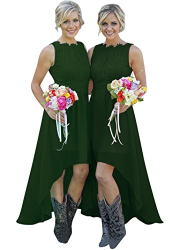 Andybridal 2018 Country High Low Lace Chiffon Open Back Wedding Bridesmaid Dress Dark Green ()