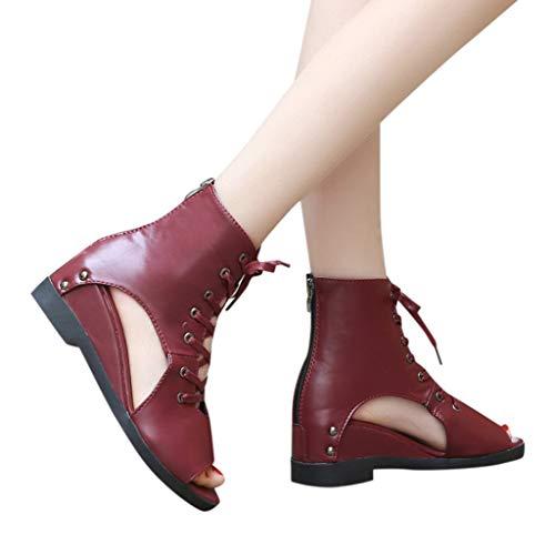 Women Flat Wedge Sandals Lace-up Peep Toe Mid-Calf Bandage Roman Cutout Shoes (US:6, Wine)