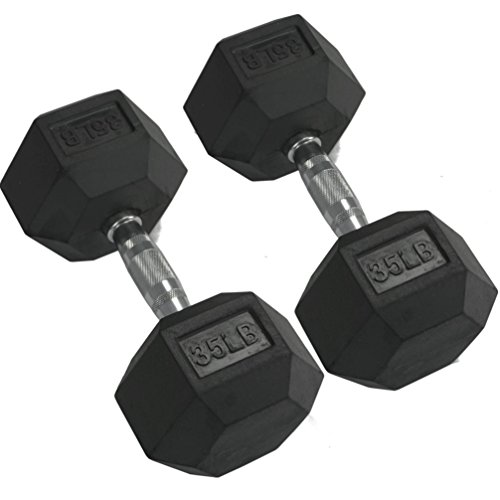Pair 35 lb Black Rubber Coated Hex Dumbbells Weight Training Set 70 lb Fitness by Titan Fitness (Image #2)'