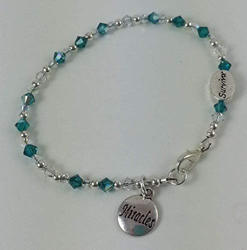 Spanglecrystals On A Whim Designs By Sheribracelet Ovarian Cancer Teal Crystal With 2 Sided Survivor Awareness Ribbon Bead And Miracle Charm Dailymail