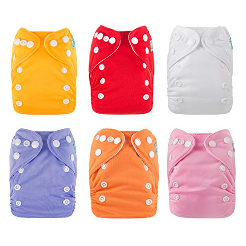 ALVABABY Pocket Newborn Cloth Diapers for Less Than 12pounds 6pcs + 12 Inserts 6SVB05