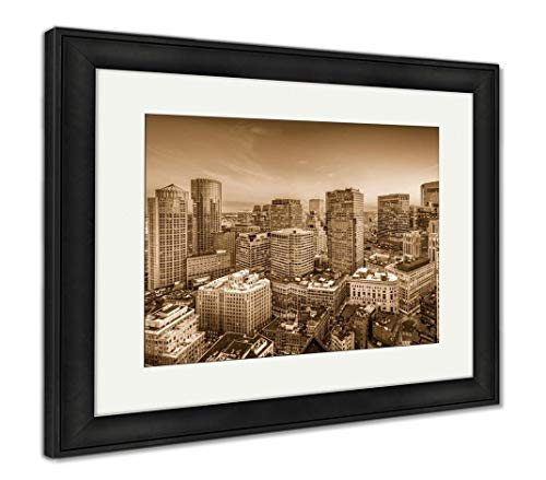 Ashley Framed Prints Boston, Massachusetts, USA, Wall Art Home Decoration, Sepia, 34x40 (Frame Size), Black Frame, AG32663486