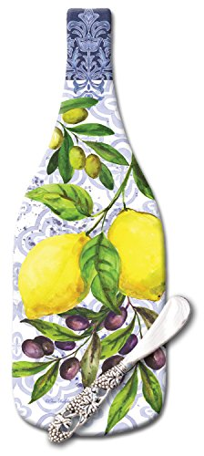 CounterArt Lemons & Olives Wine Bottle Shaped Glass Cheese Board with Spreader Knife, (Glass Cheese Board)
