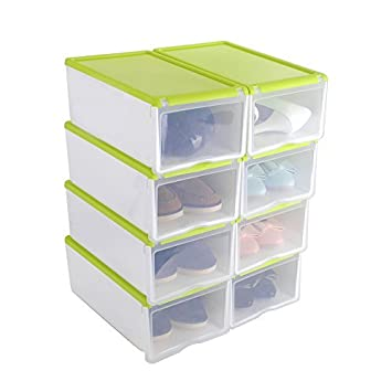 8X Cajas de Zapatos Apilable Plástica Transparente, Organizador de Zapatos, Caja de Almacenamiento, 33 x 22 x 14cm Verde, Uuhome: Amazon.es: Hogar
