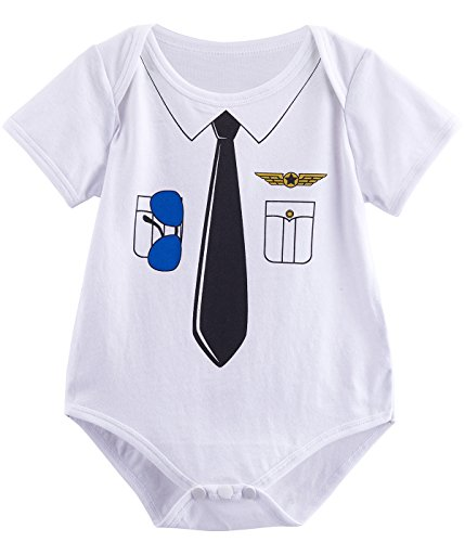 Family Of Three Costumes Ideas (Mombebe Baby Boys' Pilot Costume Bodysuit (3-6 Months, White-))
