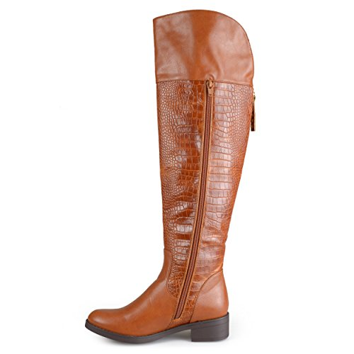 Cognac high Boots Collection Knee Print Croc Women's Journee wXxSvqH0x
