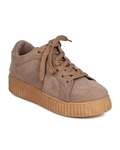 Qupid Women Sneaker Flatform In Suede Scamosciato - Casual, Lounging, Urban Fashion - Sneaker In Pelle Scamosciata Creeper Gb86 By Taupe