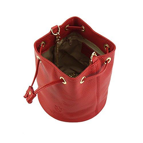 Pelle A Rosso Ilaria Chiaro 9124 Borse Morbida In Florence Tracolla Borsa Leather Market PcwXC