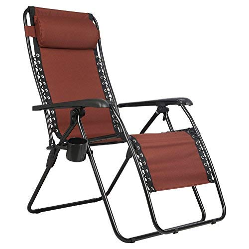 PORTAL Zero Gravity Recliner Lounge Chair, Folding Patio Lawn Pool Chair Headrest Cup Holder, Support 300lbs, Brown