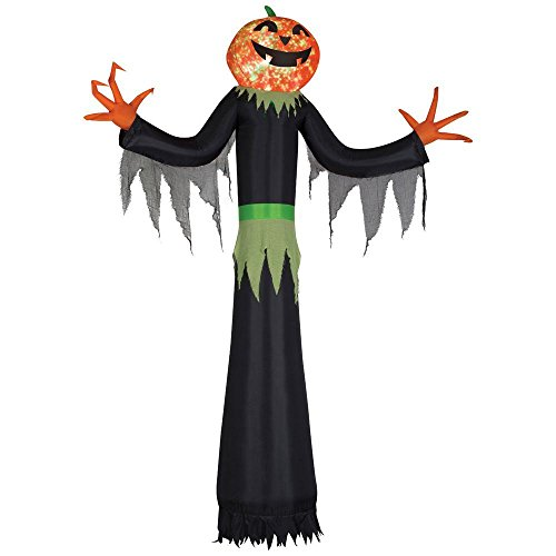 12 Ft. H Giant Projection Kaleidoscope Inflatable Pumpkin Man Lighted Airblown Halloween Creepy Scary Decor Haunted House Prop Outdoor Yard (Scary Outdoor Halloween Decorations)