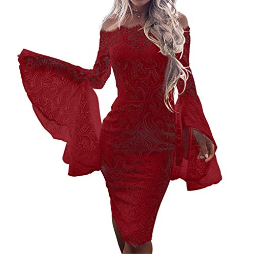 Todaies Women's Sexy Lace Flare Sleeve Solid Slash-Neck Lace Up Sheath Mini Dress (XL, Red) ()