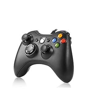 Mando PC Rottay Controlador de Gamepad  con cable USB(Alámbrico Mandos)Compatible Xbox 360/Microsoft (Windows7/8/8.1/10)-Negro