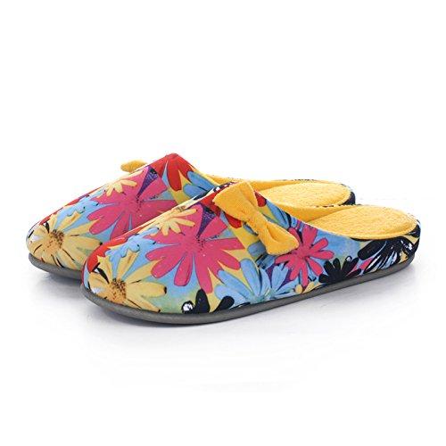 En otoño e invierno, zapatillas de casa, mujeres, algodón, suave, cómodo, con suela gruesa, antideslizante , yellow , 36/37