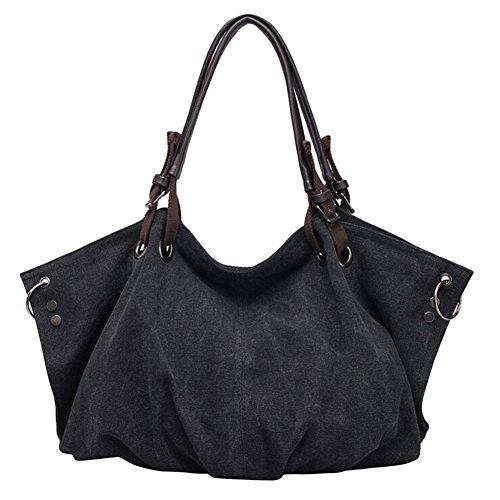 Shoulder Lined Canvas Fashion Bobo Handbag Black Tote Bag DELEY Women qw0tppR