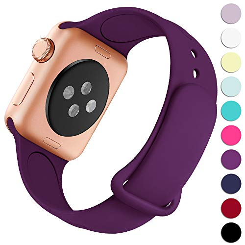(Haveda Bands Compatible with Apple Watch Band 42mm 44mm, Soft Silicone Sport Strap Wristband for Women Men with iWatch Series 4, Series 3, Series 2, Series 1, Purple, 42/44S/M)