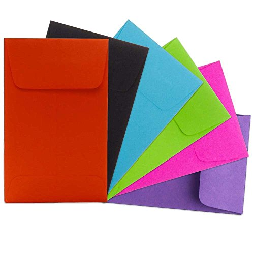 "JAM Paper #1 Coin Envelope - 2 1/4"" x 3 1/2"" - Assorted Primary Colors - 150/pack"
