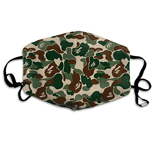 MISSMORN Face Masks Anti-Dust Mouth Cover Adorable Bape Ape Camo Green Washable And Reusable Mask Warm Windproof For Women Men Boys Girls Kids -