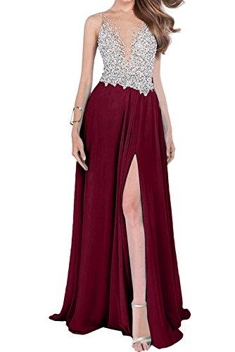 mit Steine Braut Kleider Jugendweihe Abendkleider Damen Schlitze mia Beige La Burgundy Partykleider Luxurioes xgqZIzAnw