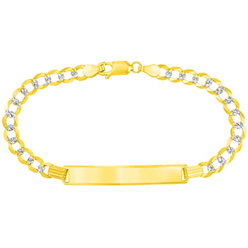Solid 14K Yellow Gold Two-Tone Long ID Bracelet with White Pave Cuban Link Chain 5mm, 7'' by Jewelry America