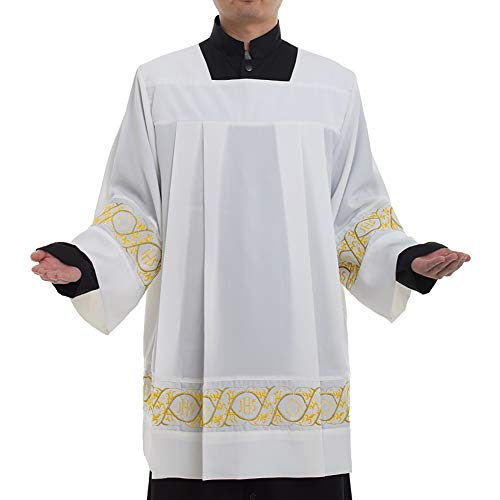 BLESSUME Catholic Pleated Lace Surplice Square Neckline Surplice Liturgical Cotta Vestment (2XL) White