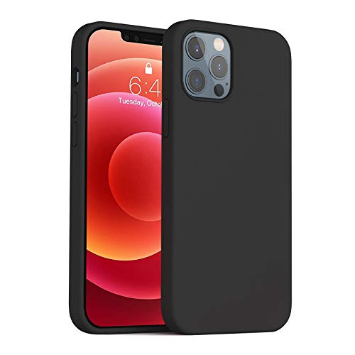 Anyos Compatible with iPhone 12/12 Pro Silicone Case 6.1″, Liquid Silicone Gel Rubber Full Body Protection Shockproof Drop Protection Phone Case with Soft Anti-Scratch Microfiber Lining, Black