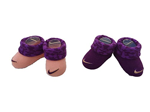 - Nike Infant Baby Futura Booties (2 Pair) (Purple (INK4982-2928) / Camo/Peach, 0-6 Months)