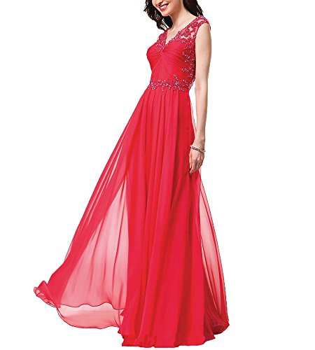 Collo Bellezza Del Yw097 Merletto Promenade Sera V Convenzionale Lungo Del Abito Da Partito Vestito Rosso Di Sposa Del Da Chiffon qrIAwr