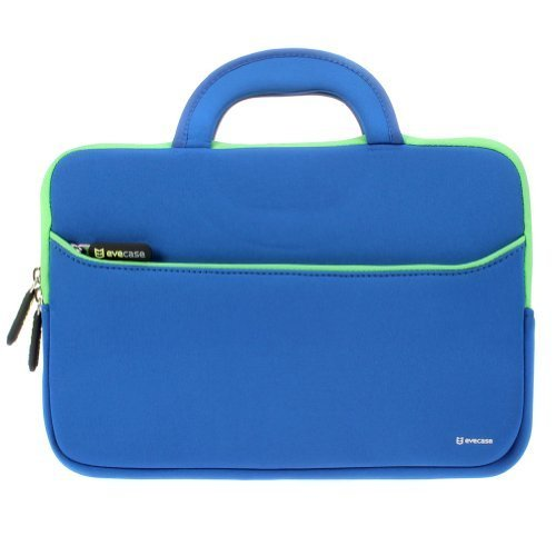 Evecase 11.6-12.2 inch Laptop Tablet Sleeve, Ultra Portable Neoprene Zipper Carrying Pouch Case Bag with Accessory Pocket and Handle For Macbook iPad Notebook Chromebook Ultrabook - Blue/Green ()