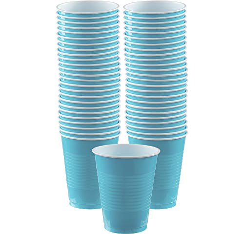 Caribbean Blue Plastic Cups Big Party Pack, 16 Oz., 50 Ct.