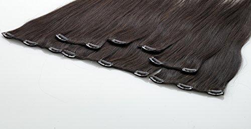 Echthaar Clip In Extensions, Haarlänge 40cm, Set mit 7 Tressen, 15 Clips , Haarverlängerung (02 - dunkelbraun)